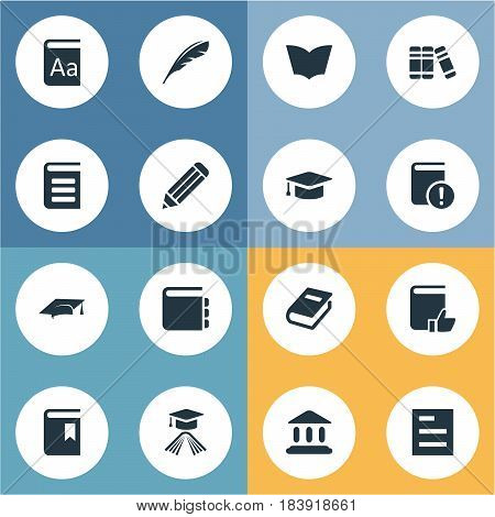 Vector Illustration Set Of Simple Books Icons. Elements Recommended Reading, Graduation Hat, Important Reading And Other Synonyms Textbook, Cap And Dictionary.