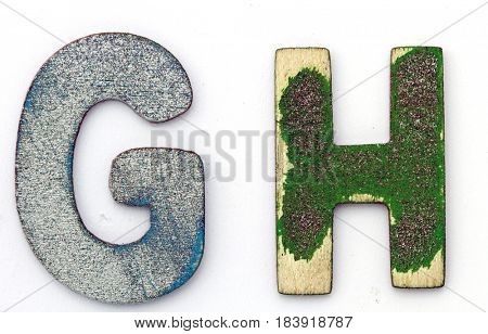 G H wooden letters