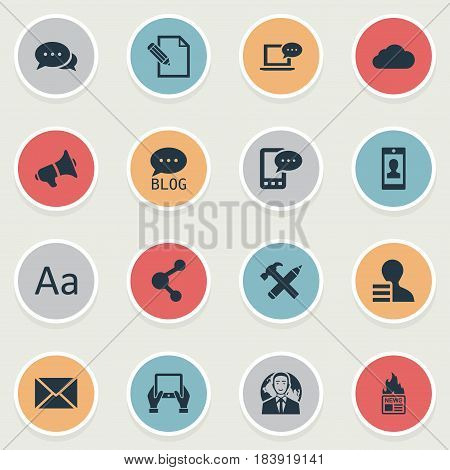 Vector Illustration Set Of Simple Blogging Icons. Elements Gain, Gazette, Site And Other Synonyms Writing, News And Gain.