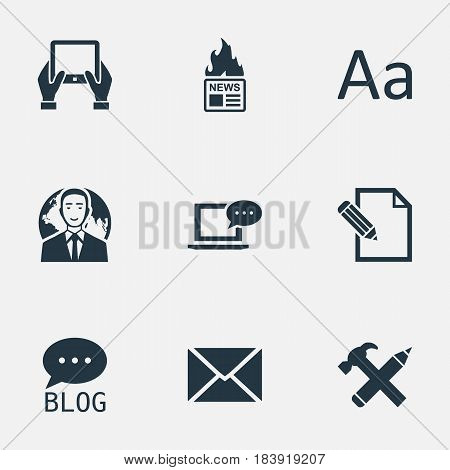 Vector Illustration Set Of Simple User Icons. Elements Cedilla, Gazette, International Businessman And Other Synonyms International, Coming And Typography.