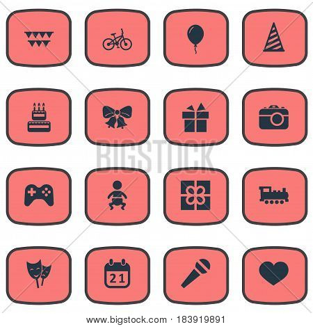 Vector Illustration Set Of Simple Holiday Icons. Elements Soul, Confectionery, Aerostat And Other Synonyms Bike, Box And Bells.