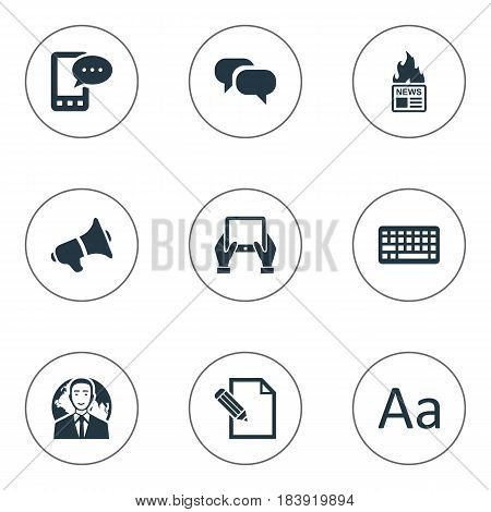 Vector Illustration Set Of Simple Newspaper Icons. Elements Keypad, Document, Gazette And Other Synonyms Hand, E-Letter And Message.
