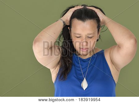 Chubby Woman Stress Unhappy