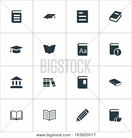 Vector Illustration Set Of Simple Books Icons. Elements Important Reading, Blank Notebook, Recommended Reading And Other Synonyms Graduation, Note And Favored.