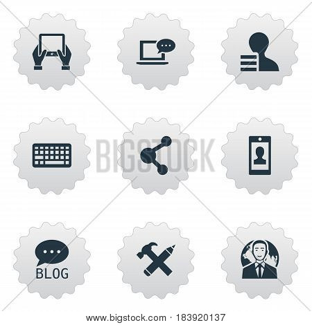 Vector Illustration Set Of Simple Blogging Icons. Elements Keypad, International Businessman, Notepad And Other Synonyms International, Smartphone And Forum.
