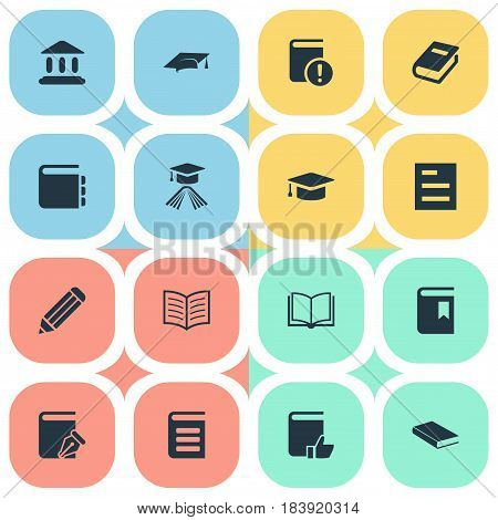 Vector Illustration Set Of Simple Reading Icons. Elements Journal, Library, Academic Cap And Other Synonyms Encyclopedia, Academy And Recommended.