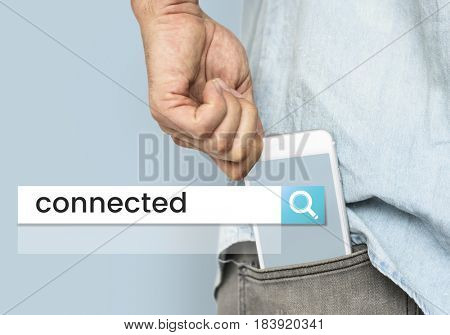 Hand holding digital device network graphic in pocket