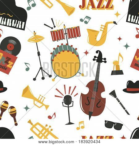 Fashion jazz band music party musical instrument design vector seamless pattern.
