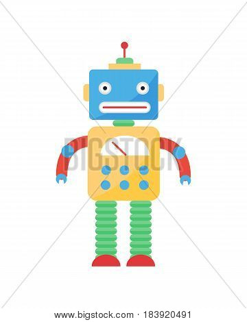 Cute vintage robot technology toy machine future science toy and cyborg futuristic design robotic element icon character vector illustration. Cartoon space retro android graphic mechanical monster.
