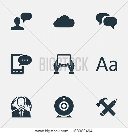 Vector Illustration Set Of Simple Blogging Icons. Elements Gossip, Overcast, Notepad And Other Synonyms Alphabet, Conversation And Repair.