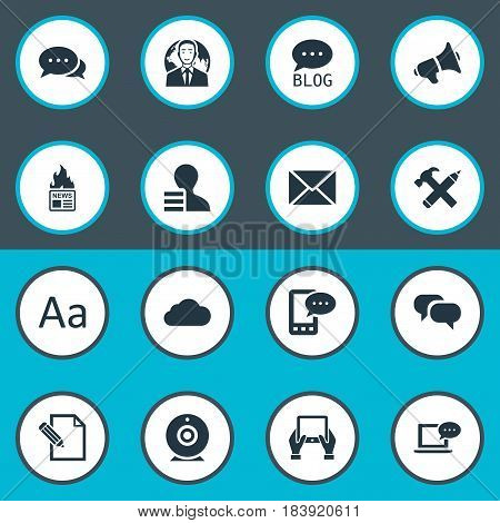 Vector Illustration Set Of Simple Newspaper Icons. Elements Gain, Notepad, Overcast And Other Synonyms Site, Pencil And News.