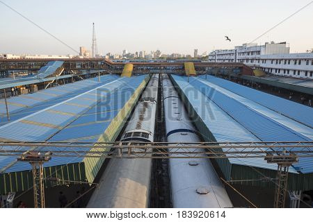 DELHI INDIA - MAR 18 : train in platform 2 and 3 at new delhi railway station. this station is large station of delhi on march 18 2015 india
