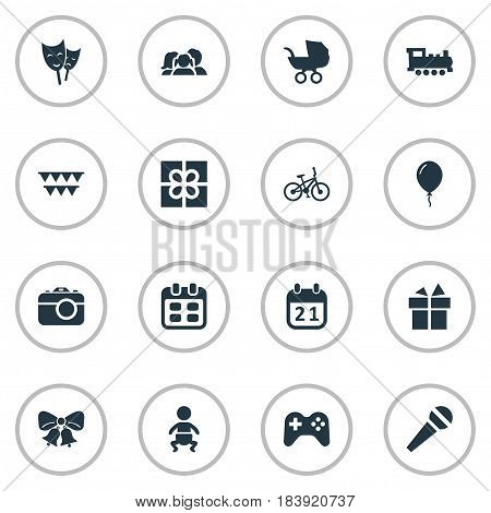 Vector Illustration Set Of Simple Celebration Icons. Elements Aerostat, Game, Camera And Other Synonyms Days, Domestic And Decorations.