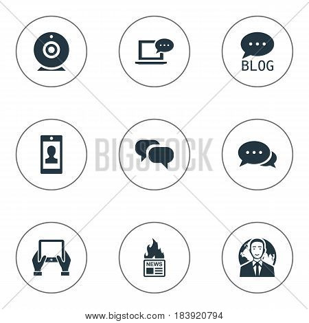 Vector Illustration Set Of Simple User Icons. Elements Laptop, Gossip, Broadcast And Other Synonyms News, Hand And Site.