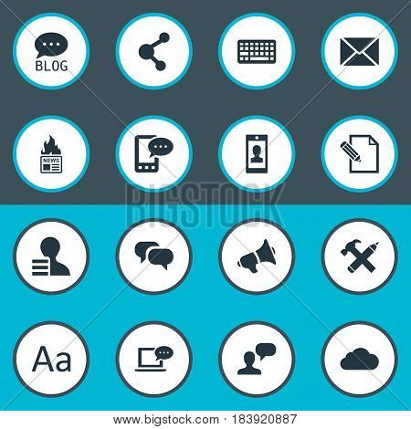 Vector Illustration Set Of Simple Newspaper Icons. Elements Cedilla, Share, Laptop And Other Synonyms Earnings, Site And Gossip.