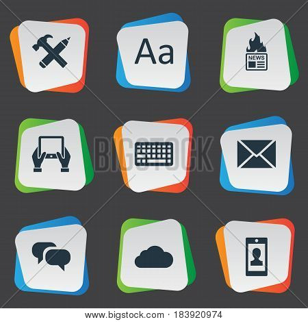 Vector Illustration Set Of Simple Newspaper Icons. Elements Notepad, Repair, Profile And Other Synonyms Keyboard, Keypad And Pencil.