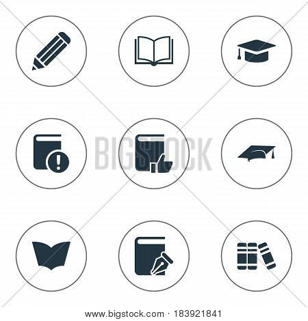 Vector Illustration Set Of Simple Books Icons. Elements Recommended Reading, Important Reading, Bookshelf And Other Synonyms Page, Pencil And Writing.