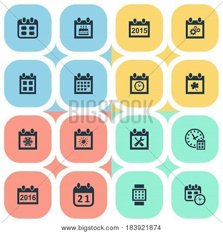 Vector Illustration Set Of Simple Plan Icons. Elements Leaf, Almanac, Intelligent Hour And Other Synonyms Agenda, Winter And Hour.