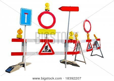 under construction roadblock signs isolated on white background