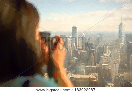 Woman with digital camera taking photo of Chicago downtown.