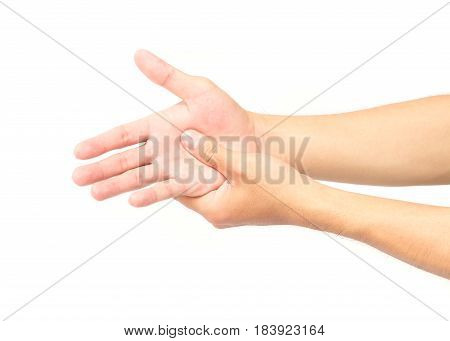 Man hand with pain on white background health care and medical concept