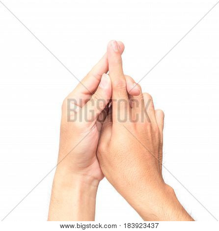 Man hand forefinger with pain on white background health care and medical concept