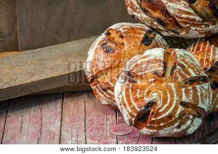 Freshly Baked Group Of Sourdough Bread With Raisins And Dried Plums.