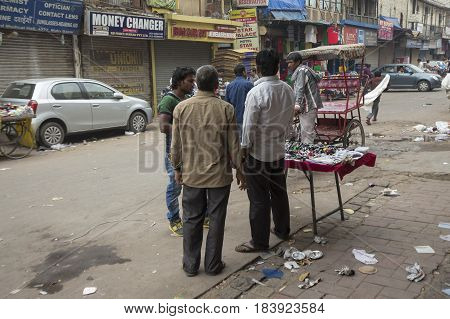 DELHI INDIA - MAR 29 : morning activity of peole in watch stall at paharganj of delhi on march 29 2015 india.