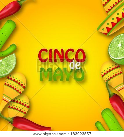 Illustration Cinco De Mayo Background with Mexican Traditional Symbols. Chili Pepper, Sombrero Hat, Maracas, Piece of Lime, Cactus - Vector
