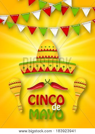Illustration Holiday Celebration Banner for Cinco De Mayo with Chili Pepper, Sombrero Hat, Maracas. Bunting Decoration - Vector