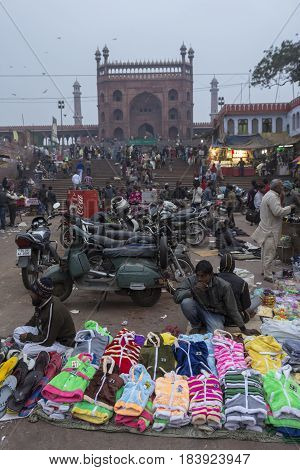 DELHI INDIA - DEC 13 : unidentified india people and street market at jama masjid in old delhi. jama masjid is biggest masjid of delhi on december 13 2014 india