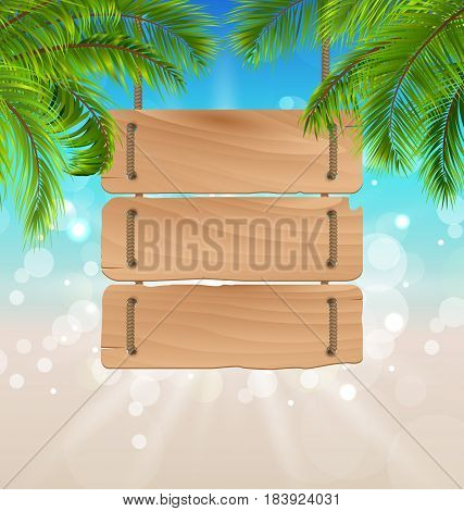 Illustration Wooden Board for Your Message, Summer Background - vector
