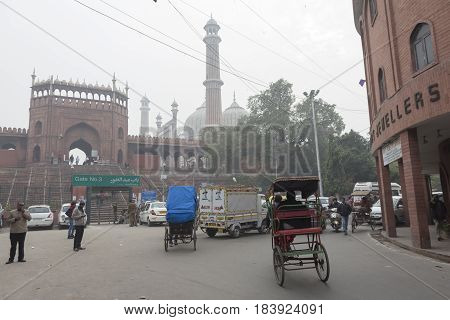 DELHI INDIA - DEC 19 : traffic near jama masjid at gate number 3 jama masjid is large masjid of delhi on december 19 2014 india