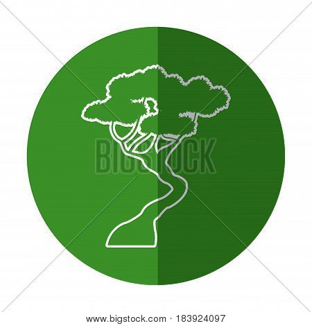 white silhouette tree bonsai decoration green design vector illustration