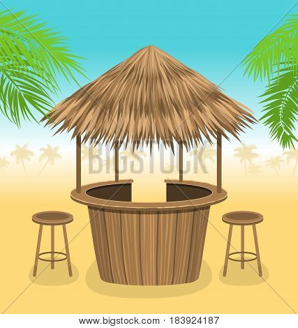 Illustration Beach Bar Thatch. Outdoor Background with Lounge Cafe. Summer Time. Vacation - Vector