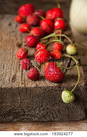 Close Up Of Fresh Strawberries On A Wooden Board.