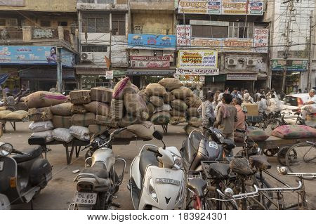 DELHI INDIA - MAY 5 : goods transportation in spice market. this market is biggest herb and spice wholesale in old delhi of Delhi on may 5 2015 india