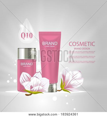 Illustration Design Poster for Cosmetics Product Advertising with Magnolia Flowers - Vector