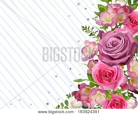 Flower frame backdrop flower pink Rose leaves beautiful spring summer bouquet vector illustration. Top view horizontal elegant watercolor design white background save the date greeting card text space