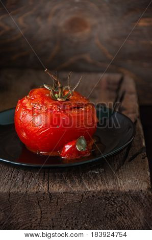 Close Up Suffed Tomatoes Filled With Rice And Ground Beef Baked In Oven.