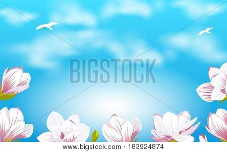 Illustration Summer Background with Beautiful Magnolia Flowers on Cloudy Sky - Vector