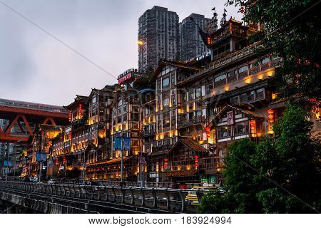 wuhan pavilion night city, in middle of China