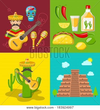 Illustration Collection Banners of Mexican Icons. Flat Style, Objects and Symbols for Cinco de Mayo - Vector
