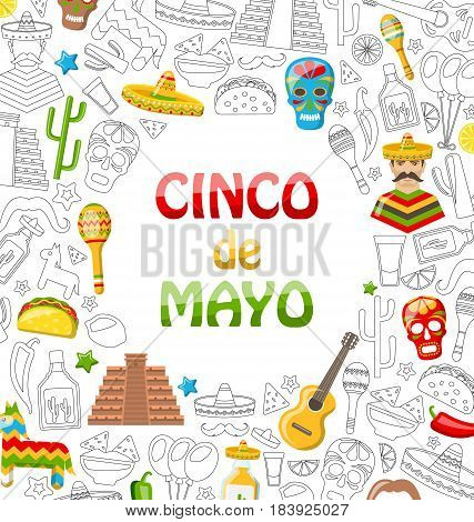 Illustration Holiday Background with Collection Mexican Colorful Icons, Objects and Symbols for Cinco de Mayo - Vector