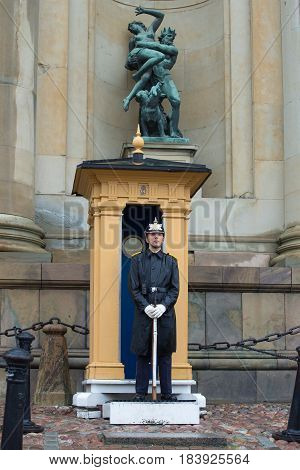 STOCKHOLM, SWEDEN - AUGUST 29, 2016: The royal guardsman on a post at the royal palace