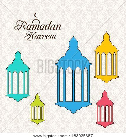 Illustration Arabic Card for Ramadan Kareem with Colorful Lamps Fanoos - Vector