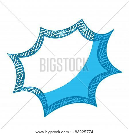 blue silhouette speech explosion bubble with dotted contour vector illustration