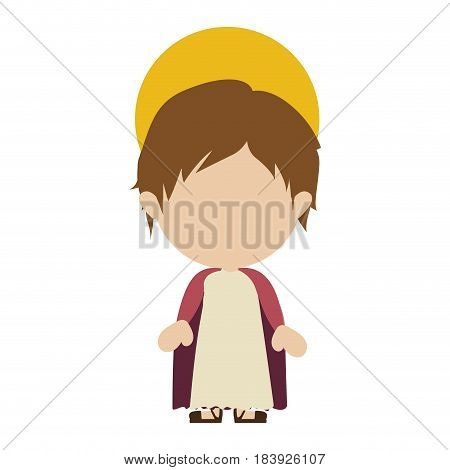 white background with colorful silhouette of faceless image of child jesus vector illustration