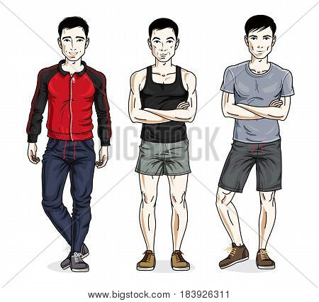 Confident Handsome Men Posing In Stylish Sportswear. Vector Set Of Beautiful People Illustrations.