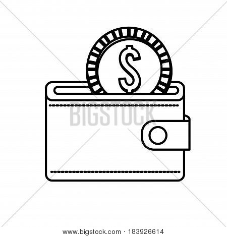 line wallet with coin money inside, vector illustration